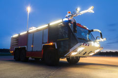 Airport fire truck in the evening Royalty Free Stock Photography