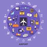 Airport Flat Concept. Colorful flat concept with various airport icons planes waiting room steward runway passengers custom control vector illustration Stock Photos