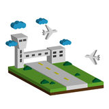 Airport flat 3d web concept vector. Terminal building, airfield, runway airstrip landing strip, Royalty Free Stock Images