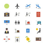 Airport Flat Icons color Royalty Free Stock Photo