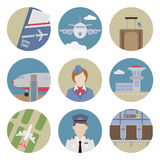 Airport flat icons Stock Photo