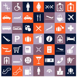 Airport flat icons set. Vector image of a set of airport icons Royalty Free Stock Image