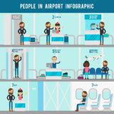 Airport Flat Infographic Template Royalty Free Stock Photos