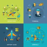 Airport Flat Set Royalty Free Stock Images