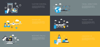 Airport flat templates vector Royalty Free Stock Images