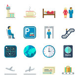 Airport flat vector icons Stock Image