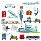 Airport Flight Accessories Flat Icons Set Stock Photo