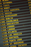 Airport flight arrivals and departures board Stock Photo