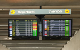 Airport flight board in Ben Gurion airport Stock Photo