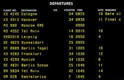 Airport flight board Royalty Free Stock Photos