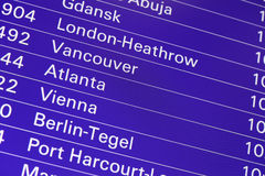 Airport flight departures board information Royalty Free Stock Images
