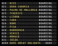 Airport flight information display,holiday destinations. Airport flight information display, european holiday travel destinations. vector vector illustration