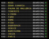 Airport flight information display,holiday destinations. Airport flight information display, european holiday travel destinations. vector stock illustration