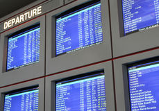 Airport flight information displays Stock Photo