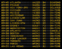 Airport flight schedule sign. Showing boarding, delays, and on time flights Stock Photo