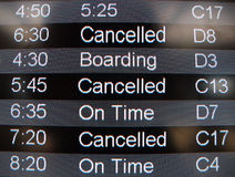 Airport Flight Status. Message board shows good news and bad news Stock Photos