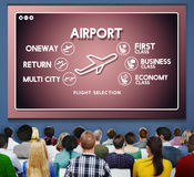 Airport Flight Ticket Selection Transportation Concept. People Listening Airport Flight Ticket Information Stock Images