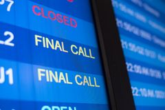 Airport flight time schedule on board. selective focus on FINAL CALL word Stock Image