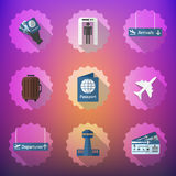 Airport Flight traveling Flat Vector Icon Set. Include passport, Stock Image
