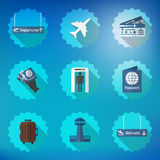 Airport Flight traveling Flat Vector Icon Set. Include passport, tickets, arrivals dispatures signs, control tower room etc. Illustration of Airport Flight royalty free illustration