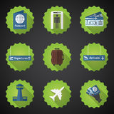 Airport Flight traveling Flat Vector Icon Set. Include passport, Royalty Free Stock Images