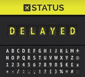 Airport flip board showing flight departure or arrival status Delayed. Vector. Airport analog flip board showing flight information of departure or arrival vector illustration