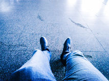 Airport. Foot at airport waiting togo flight Stock Photography