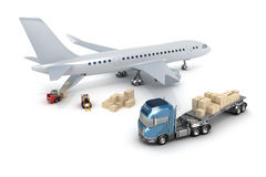 Airport : forklift is loading the airplane Royalty Free Stock Image