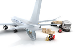 Airport : forklift is loading the airplane Stock Image