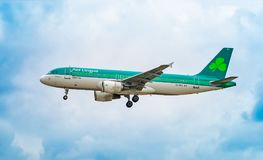 AIRPORT FRANKFURT,GERMANY: JUNE 23, 2017: Airbus A320 Aer Lingus is the flag carrier airline of Ireland and the second-largest ai. Rline in Ireland royalty free stock photos