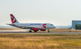 AIRPORT FRANKFURT,GERMANY: JUNE 23, 2017: Airbus A319 Czech Airl. Ines is the national airline of the Czech Republic. She operates scheduled, charter, and cargo Stock Photos