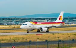 AIRPORT FRANKFURT,GERMANY: JUNE 23, 2017: Airbus A319 Iberia Lin. Eas is the flag carrier airline of Spain Royalty Free Stock Image