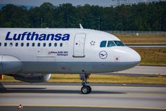 AIRPORT FRANKFURT,GERMANY: JUNE 23, 2017: Airbus A320-200 LUFTHA Royalty Free Stock Images