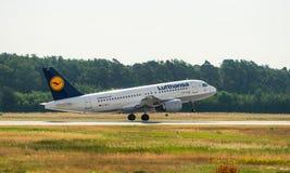 AIRPORT FRANKFURT,GERMANY: JUNE 23, 2017: Airbus A320-200 LUFTHA Royalty Free Stock Image