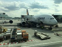 A380 at the Airport in Frankfurt Stock Image