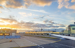 Airport Frankfurt and Terminal 2 in sunset Stock Image