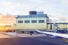 Airport Frankfurt and Terminal 2 in sunset Royalty Free Stock Photo