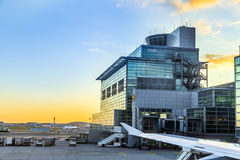 Airport Frankfurt and Terminal 2 in sunset Royalty Free Stock Images