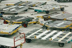 Airport Freight Trolleys Stock Photo