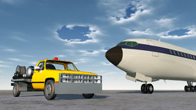 Airport fuel truck and airliner Royalty Free Stock Images