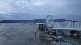 Airport gate with Aircraft stock video footage