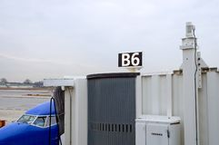 Airport gate and jet way Stock Image