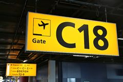 Airport gate sign Stock Photos