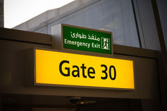 Airport gate signs Royalty Free Stock Photo