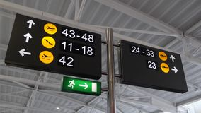Airport gates signs with different directions.  stock video