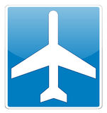 Airport glossy label sign on white Stock Images
