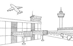 Airport graphic black white sketch illustration. Vector Royalty Free Stock Images