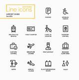 Airport Guide - modern vector single line icons set. Parking, disabled person, rail shuttle service, ticket counter, check-in, passport control, customs Stock Image