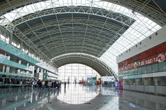 Airport hall crowded with people. Big hall of an international airport stock images