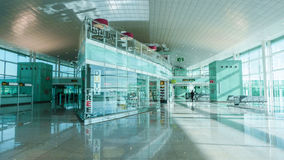 Airport hall interior, lounge zone, duty-free. Beautiful high-tech architecture. Passenger terminal Royalty Free Stock Photo